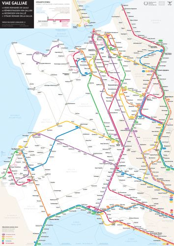 The Roman Roads of Gaul Visualized as a Modern Subway Map